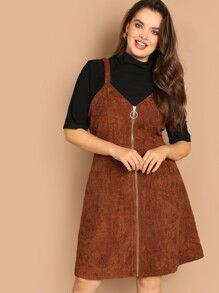 Plus O-ring Zip Front Corduroy Pinafore Dress