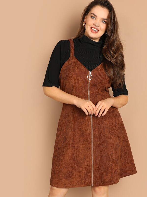 87f56fa4277 Cheap Plus O-ring Zip Front Corduroy Pinafore Dress for sale ...