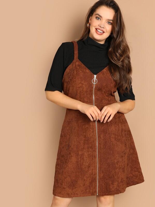 18f0828834 Plus O-ring Zip Front Corduroy Pinafore Dress