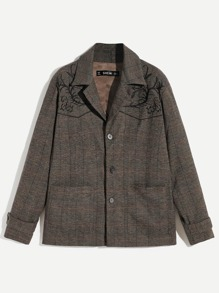 Men Button Up Plaid Print Coat