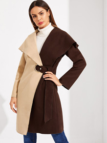 Two Tone Grommet Knot Side Wrap Coat