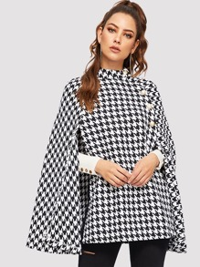 Button Detail Houndstooth Cape Coat