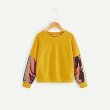 Image of Girls Drop Shoulder Sequin Sleeve Pullover
