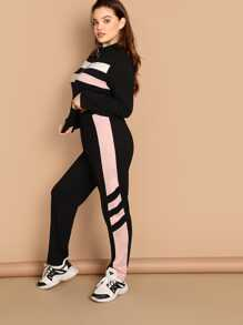 Plus O-ring Zip Front Top and Colorblock Sweatpants Set
