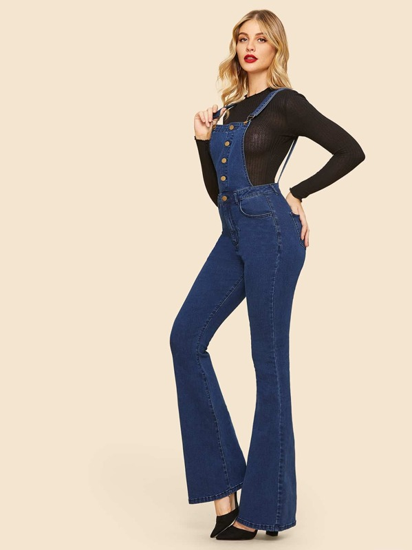 69d71ab6c Flare Hem Button Up Denim Jumpsuit | SHEIN UK