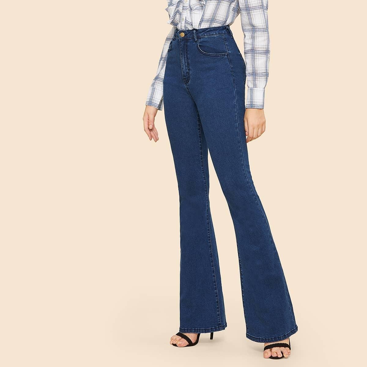 High Waisted Flare Hem Skinny Jeans