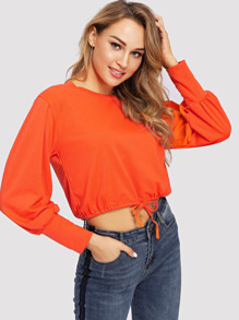 Neon Orange Solid Drawstring Hem Crop Pullover