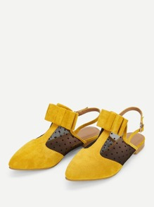 Bow Decor Mesh Panel Suede Flats