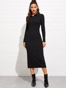 Buttoned Front Rib Knit Polo Dress