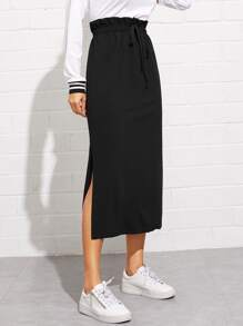 Paperbag Waist Split Side Skirt