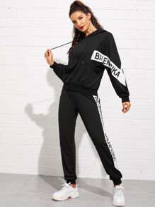 Letter Print Hoodie and Sweatpants Set