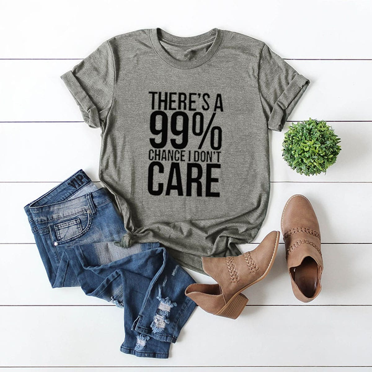 Grijs Casual Tekst T-shirts