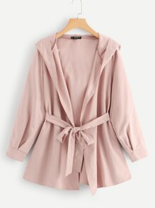 Plus Self Belted Hooded Solid Coat