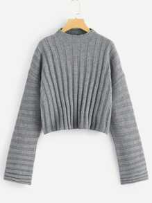Mixed Knit Solid Sweater