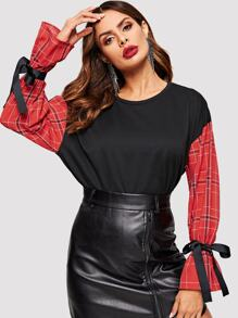 Bow Tie Sleeve Plaid Panel Sweatshirt