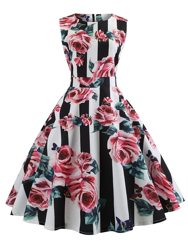 50s Floral And Striped Print Flared Dress 50s Floral And Striped Print Flared Dress