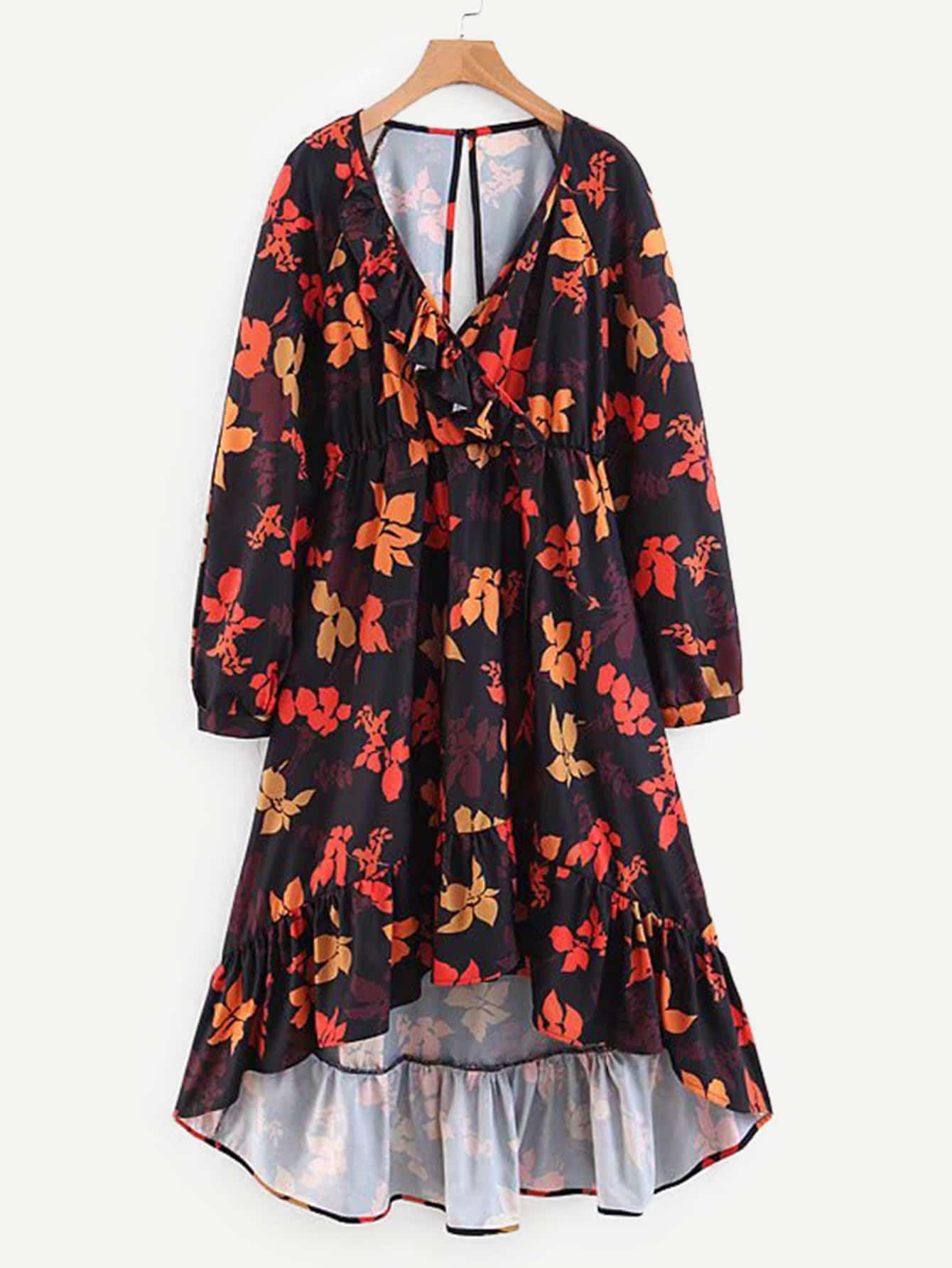 Maple Leaf Print Ruffle Hem Dress Maple Leaf Print Ruffle Hem Dress