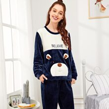 Bear Pattern Plush Pajama Set