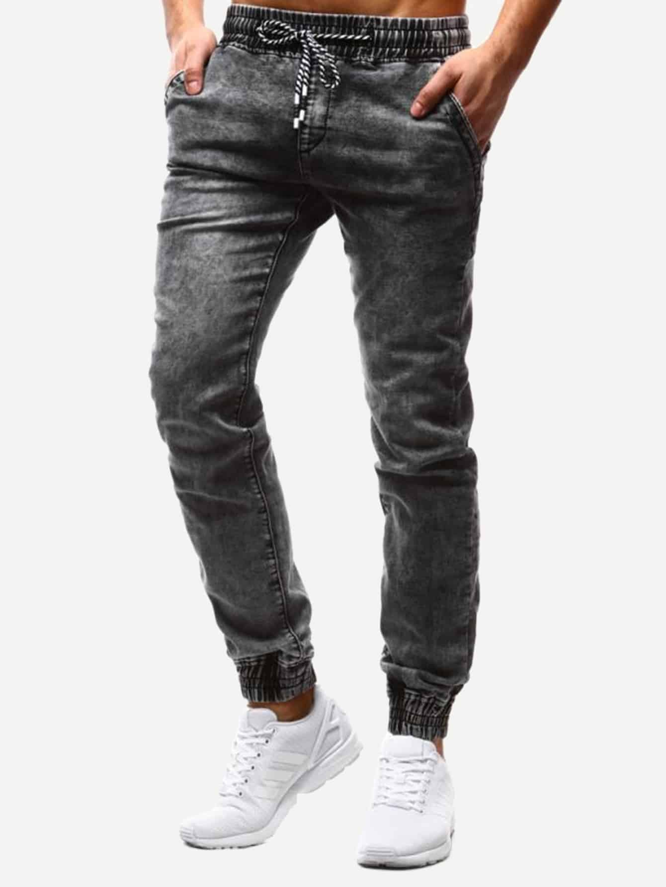 Men Drawstring Waist Solid Jeans Men Drawstring Waist Solid Jeans