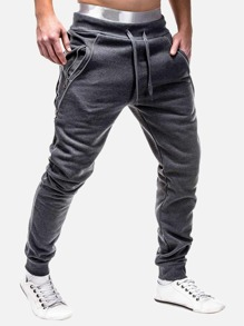 Men Contrast Zipper Drawstring Waist Joggers