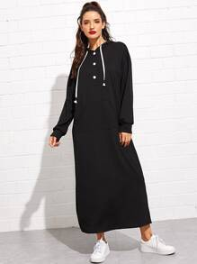 Button Half Placket Kangaroo Pocket Drop Shoulder Dress