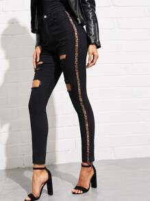 Leopard Contrast Side Distressed Jeans