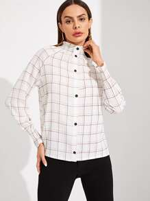 Smocked High Neck & Cuff Grid Blouse