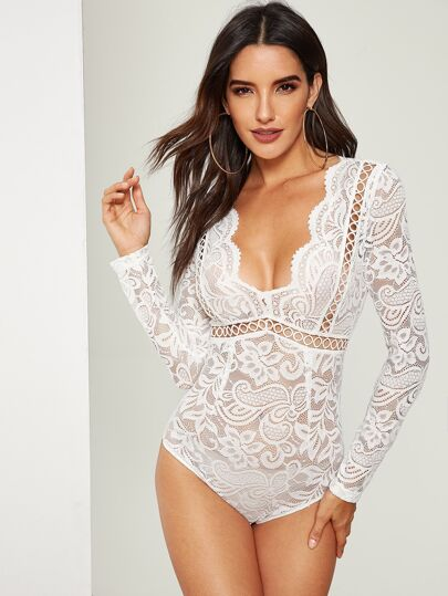 Scalloped Plunge Neck Lace Bodysuit