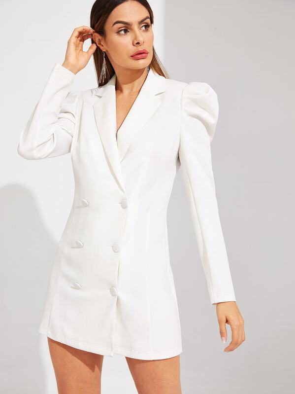 e8c21a4ea5 Double Breasted Puff Sleeve Solid Blazer Dress | SHEIN