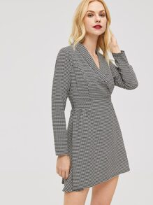 Shawl Collar Houndstooth Wrap Dress