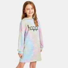 Girls Letter Print Tie Dye Hoodie Dress