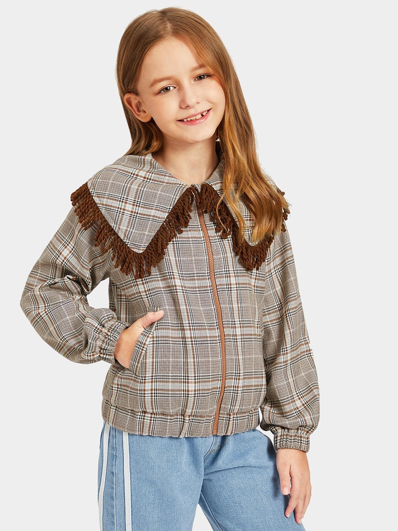 Girls Zip Up Fringe Trim Plaid Jacket Girls Zip Up Fringe Trim Plaid Jacket