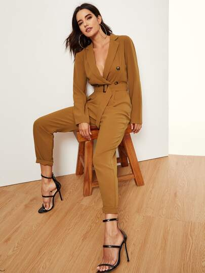 ca7a99b569 Notched Collar Double Button Plunging Utility Jumpsuit