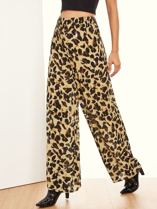 1ac699b7306d Leopard Print Wide Leg Pants | SHEIN