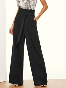 Paper-bag Waist Wide Leg Pants