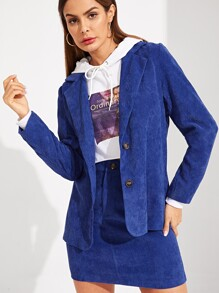 Single Breasted Notch Collar Corduroy Blazer & Skirt Set