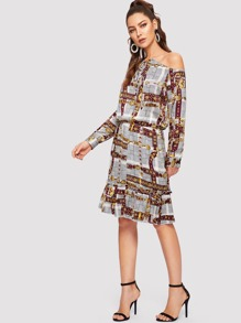 Asymmetrical Neck Chain Print Dress
