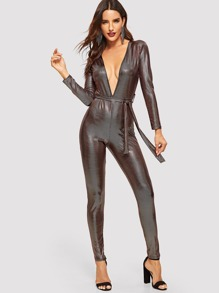 Self Tie Metallic Deep V-neck Jumpsuit
