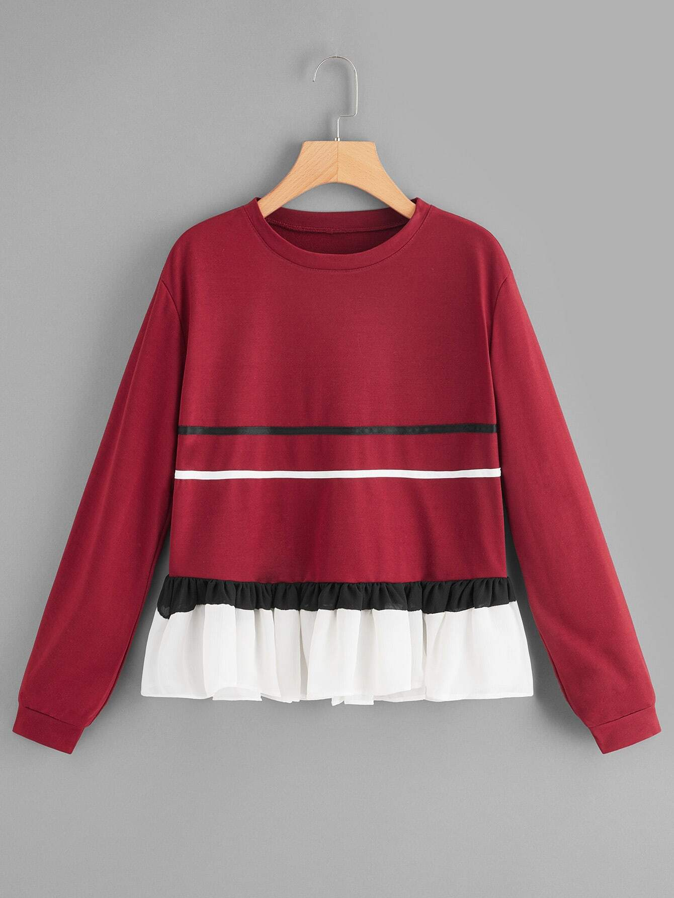 Ruffle Trim Contrast Taped Sweatshirt Ruffle Trim Contrast Taped Sweatshirt