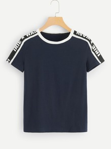 Contrast Letter Taped Side Tee