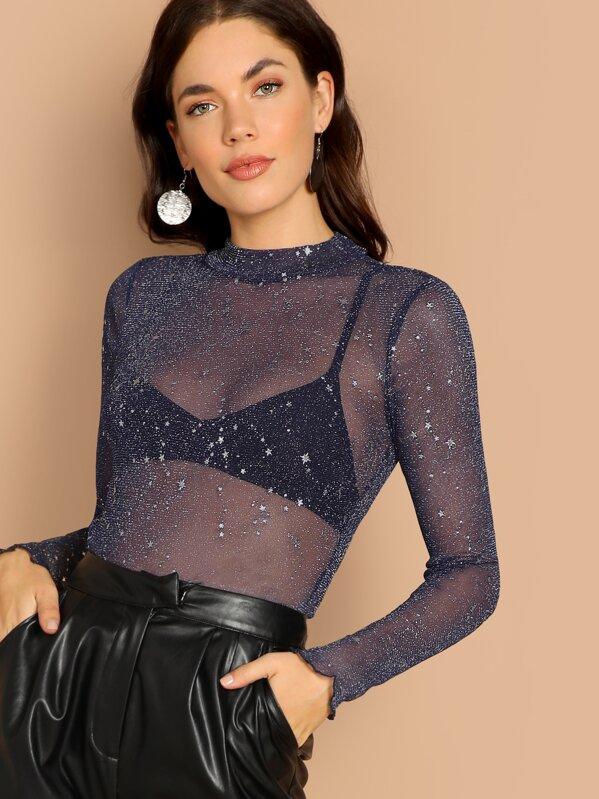 50a433d76188ef Cheap Mock-Neck Sparkly Glitter Mesh Top for sale Australia   SHEIN