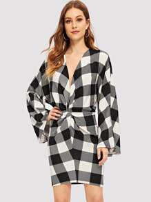 Twist Front Grid Dress