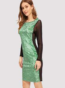 Sheer Mesh Insert Polka Dot Velvet Dress