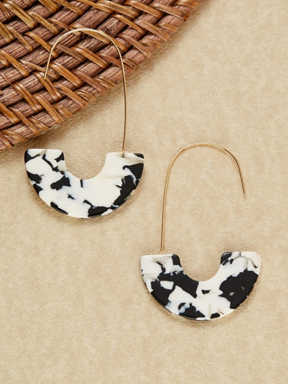 Half Circle Acetate Marble Detail Drop Earrings