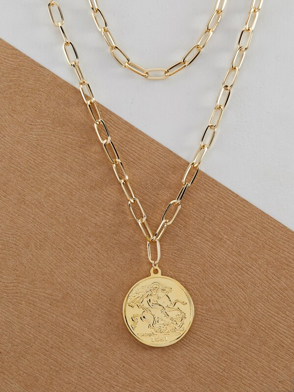Double Chain Link Necklace With Coin Pendent Set