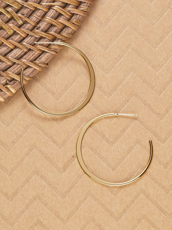 dd9479f66ced2 Large Crescent Moon 14k Gold Dipped Hoop Earrings