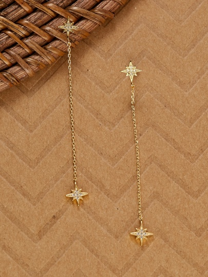 Cubic Zirconia Star Burst 14k Dipped Drop Earrings