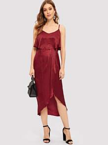 Wrap Asymmetrical Hem Pleated Cami Dress