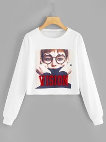 Glasses Girl Patched Front Sweatshirt