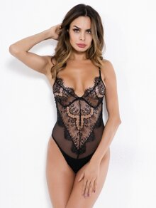 Eyelash Lace Teddy Bodysuit